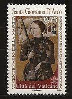 Vatican 2012 N° 1591 ** Jeanne D'Arc, Pucelle D'Orléans, Enluminure, Armure, Épée, Livre, Guerre De Cent Ans, Bûcher - Ungebraucht