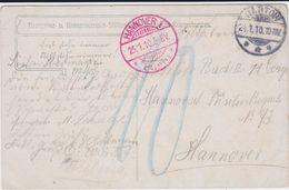 DR Soldatenkarte Gartow Nachgebühr Stempel Hannover Porto 1910 - Deutschland