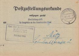 Postzustellungesurkunde Obl ALGRINGEN (WESTMARK) Du 28.5.43 Adressée à Metz - Marcophilie (Lettres)