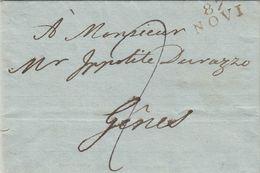 TERRITOIRE CONQUIS. GÊNES. 87 /  NOVI. 25 SEPT 1808. COLONETTI POUR YPPOLITE DAVAZZO GÊNES. TAXE 2 - Marcophilie (Lettres)