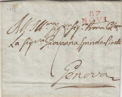 TERRITOIRE CONQUIS. GÊNES. 87 /  NOVI. 18 MARS 1813. MANEGO POUR GIOVANNA SPINDA-PINELLI  GENEVA. TAXE 2.  EN ITALIEN - Marcophilie (Lettres)