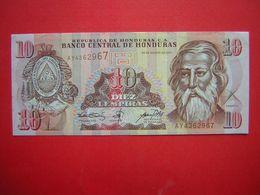 1 BILLET  BANCO CENTRAL DE HONDURAS 10 DIEZ LEMPIRA   30 DE AGOSTO DE 2001 - Honduras