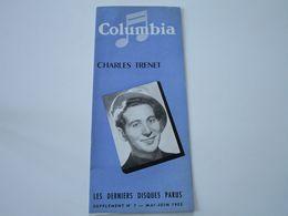 CHARLES TRENET - Disques COLUMBIA - Supplément N°7 Mai-Juin 1953 - Les Derniers Disques Parus (dépliant 3 Volets) - Musik & Instrumente