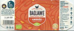 étiquette Bière Décollée Badjawe Ambrée Brasserie Coopérative Liège - Bière