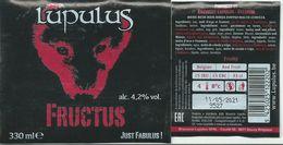 étiquette Bière Décollée Lupulus Fructus Brasserie Lupulus Gouvy - Bière