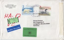 Kanada - 2$ Polar Bear + 1$ Loon Luftpostbrief Oshawa - Lenggries 2002 - Non Classés