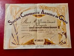 SOCIÉTÉ  COOPÉRATIVE  AGRICOLE  Du  GARD  ---------Certificat  De  5  Parts  De  25 Frs - Agriculture