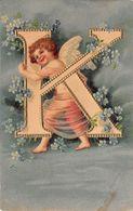 Ange - N°67809 - Ange Avec Le Lettre K - Alphabet - Carte Gaufrée - Anges