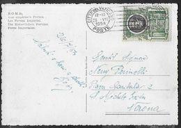 STORIA POSTALE VATICANO - SANCTUS PETRUS LIRE 10 ISOLATO SU CARTOLINA CON OBLTERAZIONE MECCANICA 29.VII.1954 - Vatican