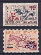 REUNION 1953, Mi# 368-369, CV €110, Part Set, Surcharged, Sport, Horse, MNH - Nuevos