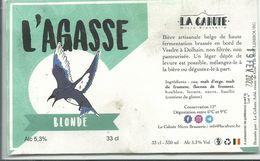 """étiquette Bière Décollée L""""agasse Brasserie La Cahute Limbourg - Beer"""