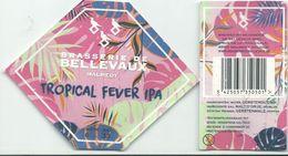 étiquette Bière Décollée Bière De Tropical Fever Ipa Brasserie De Bellevaux - Bière
