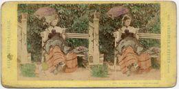 Vue Stéréoscopique, Amusante Scène De Genre. Phot Loescher & Petsch Berlin  Tirage Albuminé Colorisé C 1865,  FG1599 - Stereoscopic