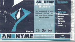 étiquette Bière Décollée L'anonyme Blanche Brasserie Grain D'orge Hombourg - Beer