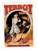 Cpm - 21 - DIJON - Publicité CYCLES TERROT Vélo Bicyclette Cycliste Femme élégante TRAIN Locomotive - T.C.F. - Dijon