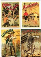 Lot 4 Cpm - Publicité CYCLES Aluminium Liberator Vélo Bicyclette Cycliste Femme Seins Nus Tricycle CLEMENT Bois Boulogne - Advertising