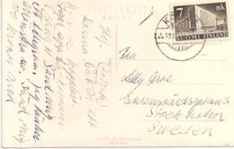 POSTCARD FROM KOTKA CHURCH TO SWEDEN STOCKHOLM 1942 LAPE NR.267 - Finnland