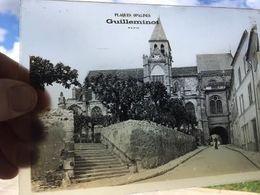 Plaque De Verre, Opaline, Guilleminot Paris, Vue: Passage Voûté, église De Triel/Seine,Rue Galande,animée,78 Yvelines - Diapositivas De Vidrio