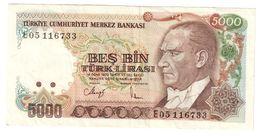 Turkey 5000 Lirasi 1970/1983 Prefix E - Turchia