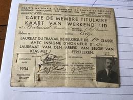 Carte De Menbre  Lauréat Du Travail . - Historische Documenten
