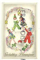 Gelukkig Nieuwjaar. Enfants Costumés, Champagne. Guirlande Serpentins, Champignons Et Trèfles. Coloprint Spécial 1336/1 - Año Nuevo