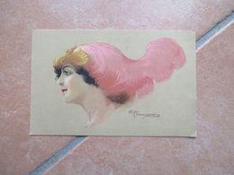 1915 Donnine Woman Illustratore R.FRANZONI Viaggiata Affrancata Profilo Piuma Rosa - Non Classificati