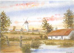 Vendée (85) - Aquarelle - A Grand Flots Sur La Terre - Dumas - Illustrateur - Moulins - Folklore