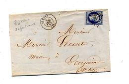 Lettre Cachet Losange Le Mans Sur Napoleon + Calais - Marcophilie (Lettres)