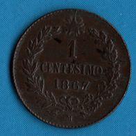 ITALIA 1 Centesimo 1867 M Km# 1.1 VITTORIO EMANUELE II RE D'ITALIA - 1861-1946 : Regno