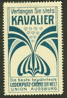 "Augsburg 1913 "" Union Lederputz Creme Kavalier "" Jugendstil Vignette Cinderella Reklamemarke - Erinofilia"