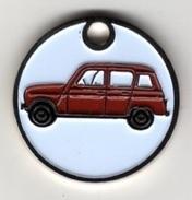Jeton De Caddie  Argenté  Automobile  RENAULT  4 L  Rouge - Munten Van Winkelkarretjes