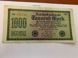 Germany 1000 Marks Banknote 1922 #2 - [ 3] 1918-1933 : Repubblica  Di Weimar