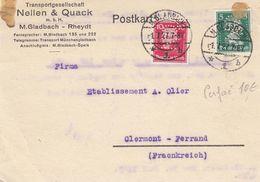 CARTE. REICH. PERFORÉS NELLEN & QUACK. M.GLADBACH. 1 7 27. POUR CLERMONT-FERRAND FRANCE   / 2 - Allemagne