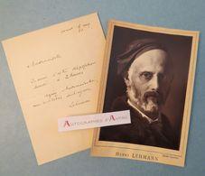 Billet + Photo Henri LEHMANN - Peintre Né à Kiel En Allemagne - Lettre Autographe L.A.S Autograph Letter - Autographes