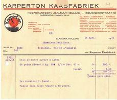 EN 1931 PAYS BAS HOLLAND ALKMAAR KARPERTON KAASFABRIEK LIMMEN NIMROD FACTURE PUBLICITAIRE ILLUSTREE COURRIER COMMERCIAL - Netherlands
