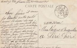 Ambulant De Jour DIJON à PARIS - Type 2 (TTB) Sur CPA En FM D'Ancy Le Franc. (soldat Au 38è Territorial à Ancy.) - Spoorwegpost