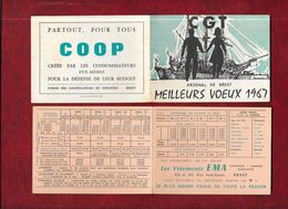 CGT - Arsenal De Brest - Petit Calendrier De Poche 1967 - Dessin De François Perhirin - - Calendriers