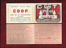 CGT - Arsenal De Brest - Petit Calendrier De Poche 1968 - Dessin De François Perhirin - - Calendriers