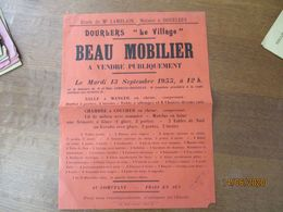 """DOURLERS """"LE VILLAGE"""" LE 13 SEPTEMBRE 1955 BEAU MOBILIER A VENDRE PUBLIQUEMENT EN LA MAISON LOBELLE-ROUSSEAU 40cm/30cm - Affiches"""
