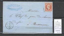 France - Lettre - Audincourt - Doubs - PC 172 - Yvert 16 Margé - 1856 - 1849-1876: Periodo Clásico