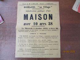 """DOURLERS """"LE VILLAGE"""" LE 5 OCTOBRE 1955 ADJUDICATION PUBLIQUE D'UNE MAISON AVEC 10a 38 A LA REQUÊTE COMTESSE 40cm/30cm - Affiches"""