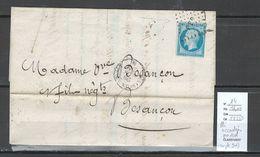 France - Lettre - Yvert 14 - Pli Accordéon Angle Sud Ouest - IDENTIFIEE De Fraisans -Jura - Poststempel (Briefe)