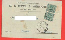 Fabbrica Biciclette Stiepel & Weimann Milano Cartolina Commerciale 1910 Per Valdagno Bicycle Velò - Trade