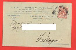 Fabbrica A. E. G. Elettricità Cartolina Commerciale Da Venezia S. Moisè Per Valdagno 1910 - Trade