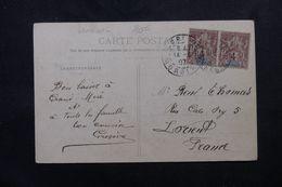 SÉNÉGAL - Affranchissement Recto / Verso Dont Paire Groupe De Dakar Sur Carte Postale En 1907 Pour La France - L 63119 - Sénégal (1887-1944)