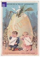 Chromo Belle Jardinière Succursale De Lyon Sicard Pâques Oeuf Cassé Enfant Paresseux Fille Robe Punition Easter A36-47 - Autres
