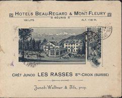 Enveloppe Illustrée Hôtel Beau Regard Mont Fleury Cret Junod YT 120 CAD Les Rasses Près Ste Croix 29 VII 10 Pr Indochine - Oblitérés