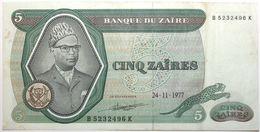 Zaïre - 5 Zaïres - 1977 - PICK 21b - TTB - Zaire