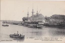 """Bv - Cpa LORIENT - Caserne Du 3è Dépôt Et Le Navire Amiral """"Tibre"""", Ancienne Frégate, Siège Du Dépôt De Prisonniers Alle - Lorient"""
