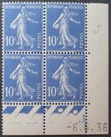 R1306/36 - 1936 - TYPE SEMEUSE FOND PLEIN - BLOC N°279 NEUF** CdF Daté 6.6.36 - 1930-1939